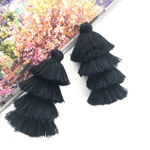 Chi Chi Tiered Cotton Tassel Earring