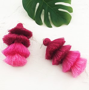 Tiered Cotton Tassel Earring