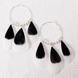 Multi Feather & Metal Ball Hoop Earrings