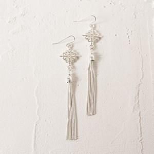 Filigree & Snake Chain Tassel Drop Earrings