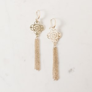 Large Filigree & Metal Tassel Drop Earrings