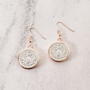 Pineapple Coin Drop Earrings
