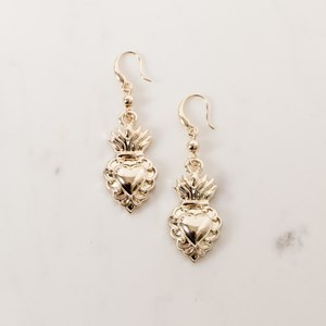Small Sacred Heart Drop Earrings