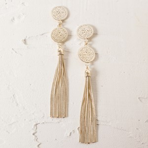 Two Disc & Snake Chain Earrings