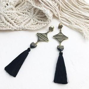 Aztec Drop Tassel Earrings