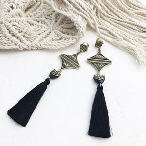 Aztec Drop Tassel Earrings