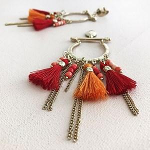 Bar & Open Hoop Bead & Tassel Earrings