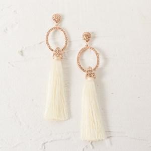 Diamante Oval Tassel Earrings