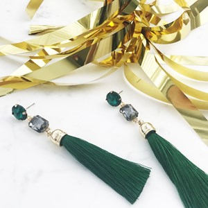 Diamante Stud & Tassel Drop Earrings