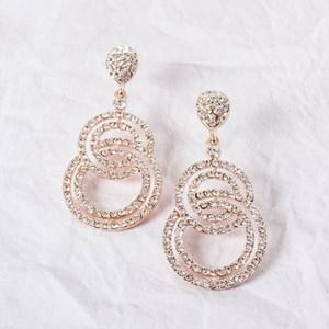 Diamante Teardrop & Circle Earrings