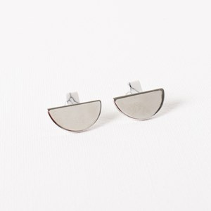 Half Moon & Stone Stud Earrings