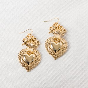 Large Sacred Heart Drop Earrings