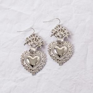 Large Sacred Heart Drop Earrings