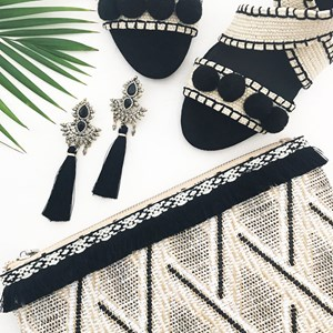 Statement Indian Diamante & Tassel Earrings