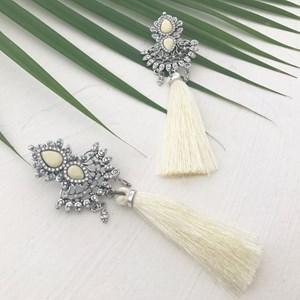 Statement Indian Diamante & Tassel Earrings