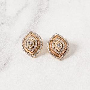 Bella Almond Diamante Stud Earrings