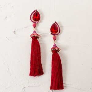 Tear Drop Diamante Tassel Earrings