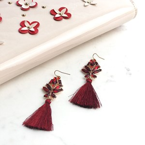 Faceted Glass & Satin Tassel Earrings
