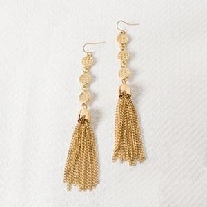 Oriental Disc & Tassel Earrings