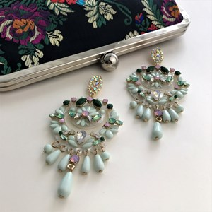Statement Resin & Faceted Glass Drop Earrings