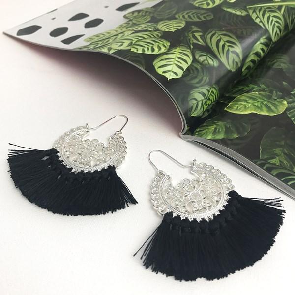 Moroccan Filigree Tassel Earrings