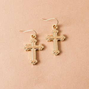 Celtic Cross Hook Earrings