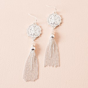 Lion Disk & Tassel Hook Earrings