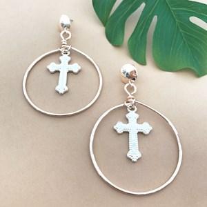 Cross Drop Hoop Earrings