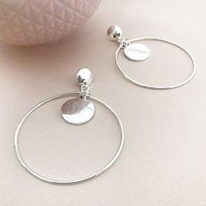 Disc Drop Hoop Earrings