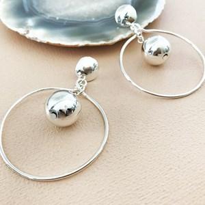 Ball Drop Hoop Button Earrings