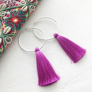 Luella Hoop Tassel Earrings