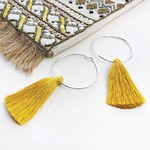 Luella Hoop Tassel Earrings