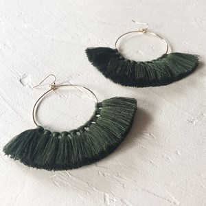 Fine Hoop Tassel Earrings