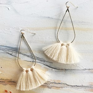 Teardrop Hoop Fringe Earrings