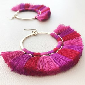 Metal Detail Fringe Earrings