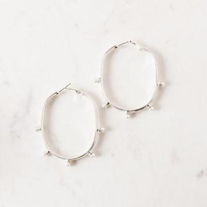 Olive Ball Detail Oval Hoop Earrings