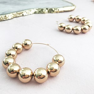 Alexa Large Ball Hoop Earrings