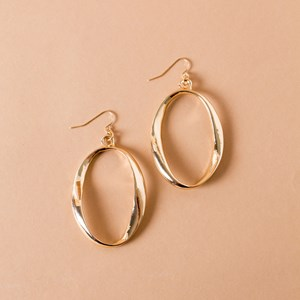 Oval Hook Drop Earrings