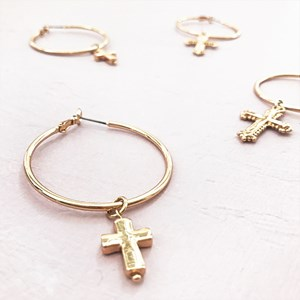Smooth Cross Hoop Earrings