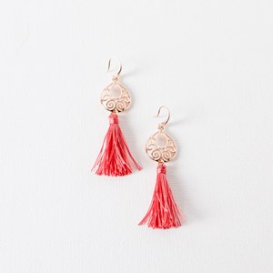 Filigree Tassel Hook Earrings