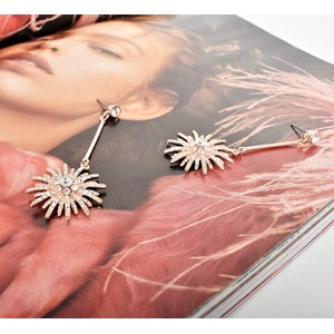Diamante Rod Star Drop Earrings