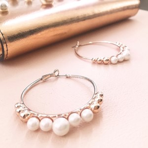 Pearls Hoop Earrings