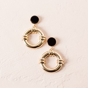 Button Rope Ring Stud Earrings