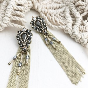 Teardrop Jewelled Chain Earrings