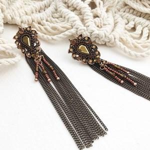 Teardrop Jewelled Chain Earrings