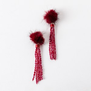 Fur Beaded Tassel Earrings
