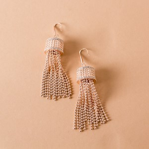 Ball Chain Column Hook Earrings