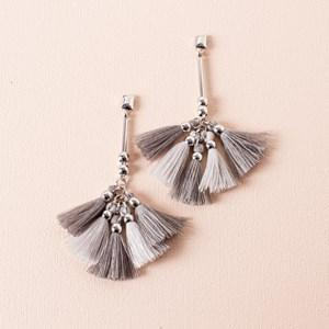 Two Tone Tassel Rod Drop Earrings