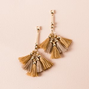 Two Tone Tassel Rod Drop Earrings