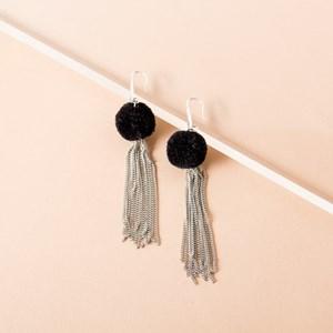 Pom Pom Chain Hook Earrings